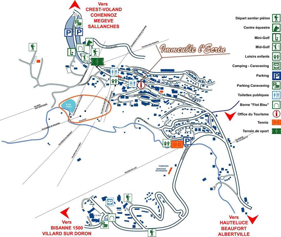 Plan acc s aux saisies en savoie location saisonniere ski savoie - Office de tourisme les saisies ...